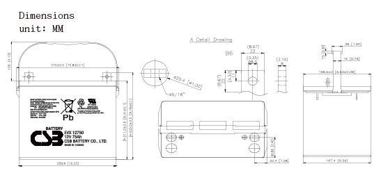 EVX12750 dimensiones