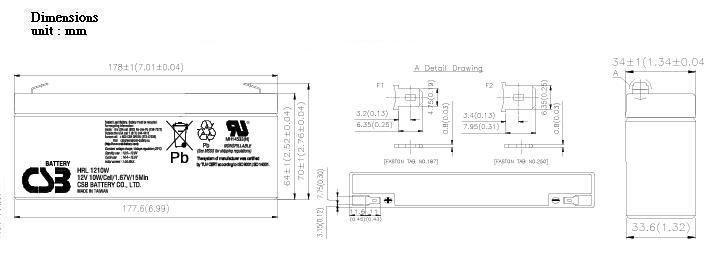 HRL1210W dimensiones