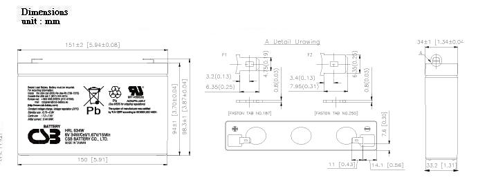 HRL634W dimensiones